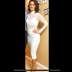 Long sleeve mesh top midi dress white